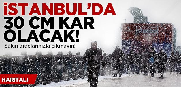 İstanbul'da 30 cm kar olacak