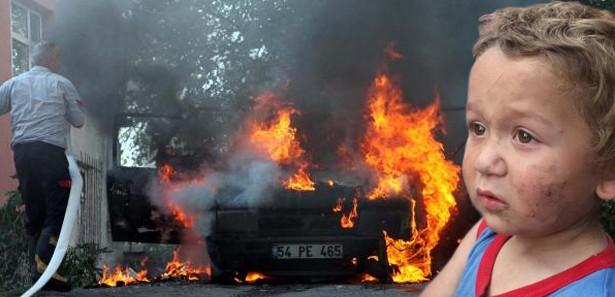 Çakmakla oynayan çocuk arabayı yaktı